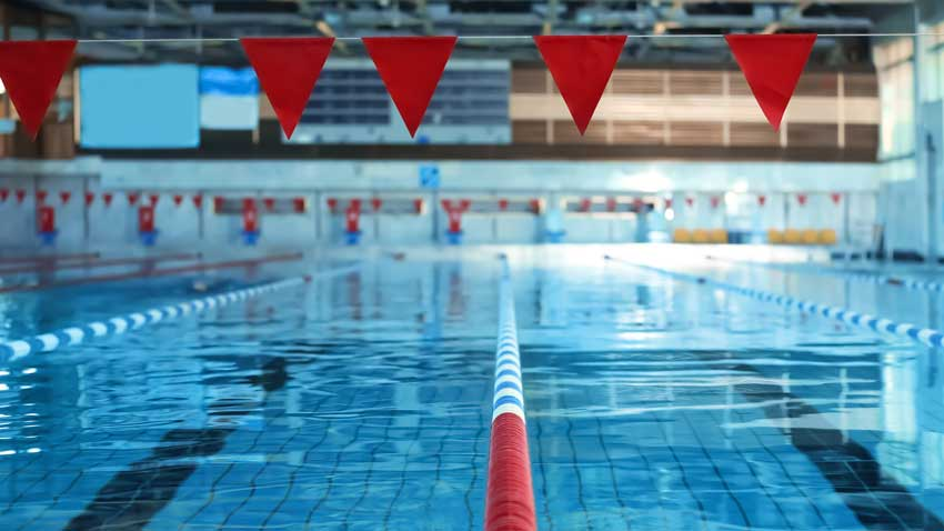 Swimming pool with lane markers ready for a meet